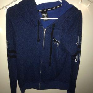 blue PINK zip-up sweatshirt